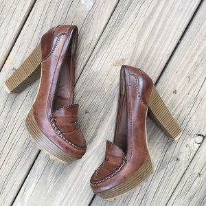 Mia Brown Platform Loafers